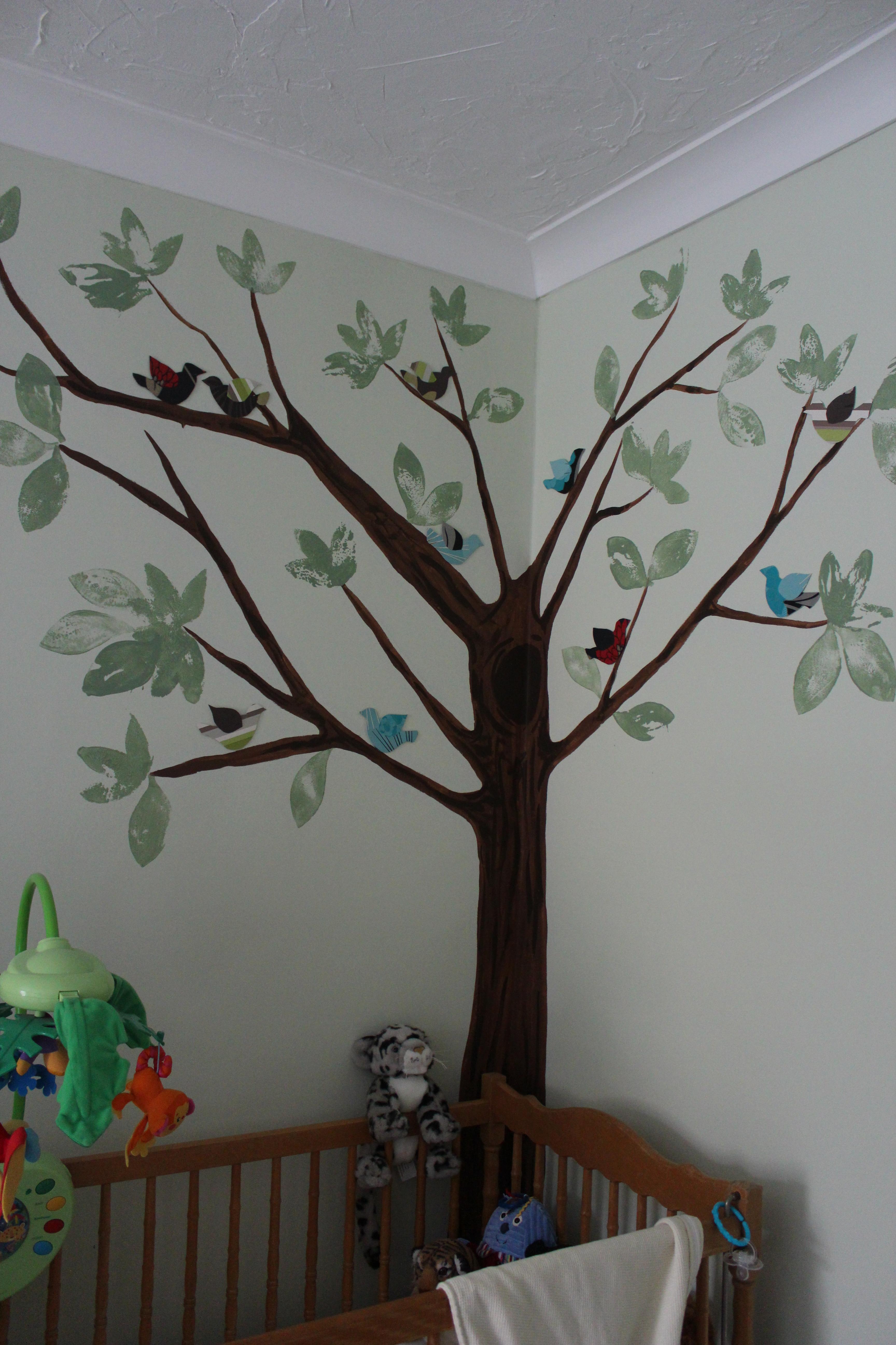 Painted tree for nursery wall nursery paint tree birch for Beautiful birch tree wall mural
